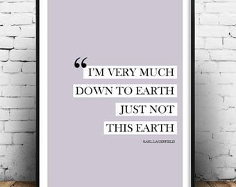 Karl Lagerfield Fashion Quote Wall Print Home Decor Interior Design Haute Couture Poster Picture Designer
