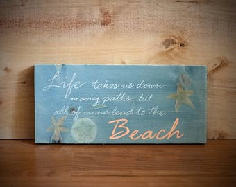 Wooden Beach Sign with Seashells