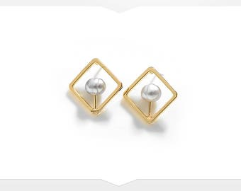 Simple Pearl Earrings - Geometric Style Gold Colour - Square Stud Earrings