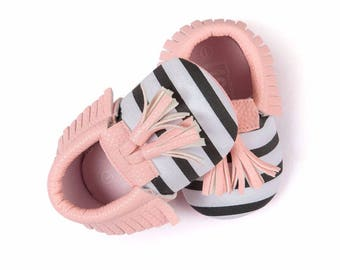 Pink Striped Tassel Moccasins