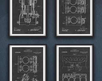 Engine Internal Combustion Patent | Engine Instant Digital Download | 4 Designs | Gift for Him INSTANT DOWNLOAD