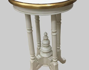 Round Lamp Occasional, Side Table - Finished in Antique White with Gold Metal Leaf Rim