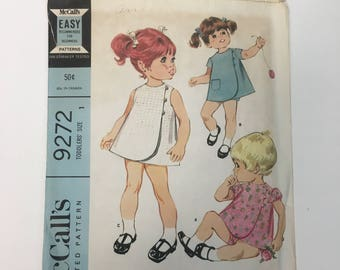 Vintage McCall's 9272 Easy to Sew Child's Size 1 Dress and Shorts Sewing Pattern, Vintage Baby