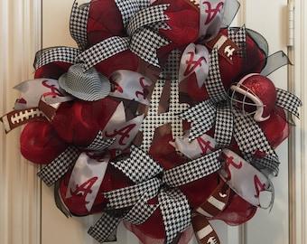 Alabama Football Wreath,Alabama Alumni,Front Door Decor,Deco Mesh Wreath,Roll Tide Wreath,Dorm Door Decoration,Houndstooth Decor,Roll Tide