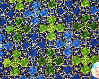 Quilting Treasures In Bethlehem by Liz Dillon Royal Metallic Stained Glass Cotton Fabric