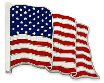 PinMart's Proudly Made in USA American Flag Jewelry Quality Silver Enamel Lapel Pin