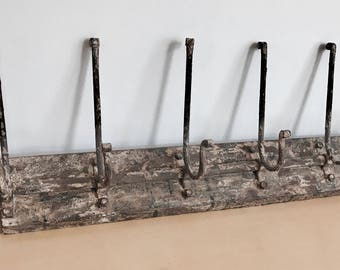 Vintage Coat Rack with 6 Hooks