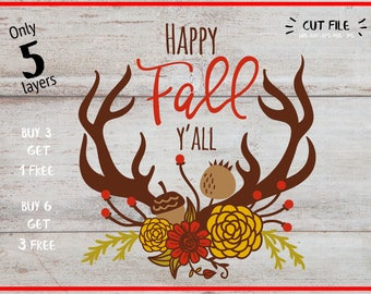 Happy Fall Yall Svg ,Autumn clipart, Fall Svg, Svg-Png-Dxf-Fcm, Cut Files For Silhouette Cameo/ Cricut, Svg Download, Iron on transfer