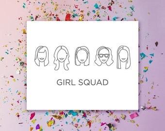 Custom Minimalist Girl Squad Portait Illustrations
