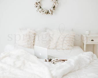 White Bed Styled Stock Photo Nightstand Bed Styled Stock Photography Cotton Styled Photo Lifestyle Stock Photo with Bed and Computer - 0013