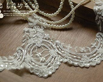 Ivory Alencon Lace trim,13cm, Wedding Veil, Bridal Lace Trim.