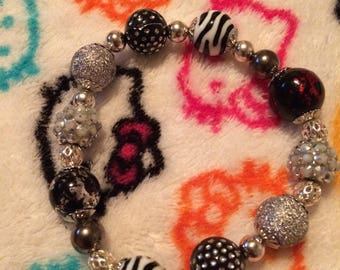 Black, White, n Silver Beaded Glam Bracelet