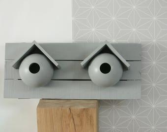 Grey 2 niches wooden birdhouse