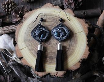 Raven earrings Raven jewelry Gothic earrings Crow earrings Gothic jewelry Black earrings Witch earrings Black raven Wiccan earrings
