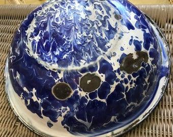 Very Old Blue Enamelware Bowl
