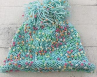 Hand Knit Baby/Toddler Hat, Turquoise, Beanie, Pom Pom