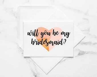 Will You Be My Bridesmaid Card // Printable Bridesmaid Card, Bridesmaid Proposal Card, Printable Proposal Card, Printable Wedding Cards