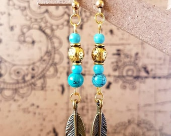 Turquoise and gold feathered earrings