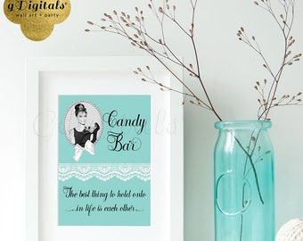 Breakfast at Tiffany's candy bar sign with Audrey Hepburn quote, 5x7 Instant Download {Blue & White Lace Ribbon}