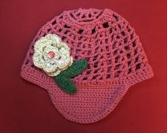 Hat with brim, Crochet, Handmade, Pink