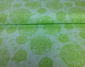 Green Tossed Medallions, Soft Dreams Cotton Fabric by P & B Textiles, sold by the 1/2 yard, SDRE 595 G