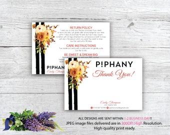 Piphany Care Instruction Card, Piphany Thank You Card, Custom Piphany Marketing, Personalized Marketing Kit PP09