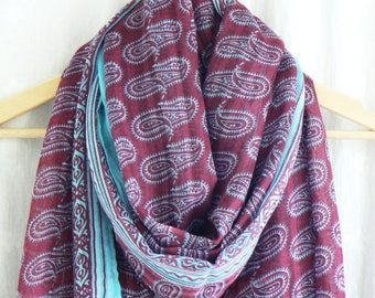 Dark Red Burgundy and Pale Blue Paisley Scarf Wrap Shawl