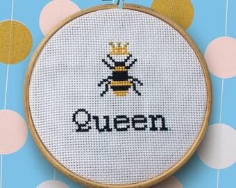 Queen Bee Metallic Gold Cross Stitch |5 inch Embroidery Hoop Framed