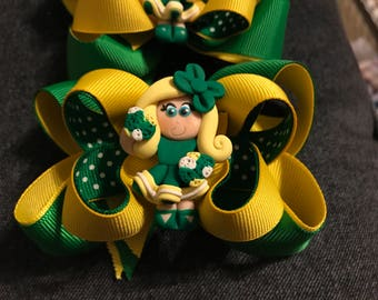 Cheerleader Hairbow (Customizable for school colors)