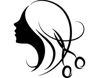 Hair Style Salon Beauty Scissors Comb Hairdresser Female Fashion SVG EPS PNG Vector