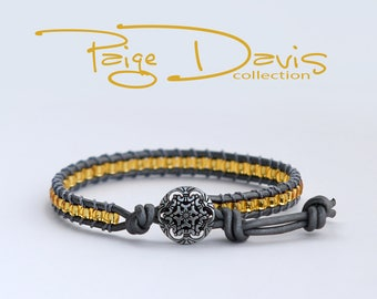 Yellow/Gold & Gray Beaded Bracelet with Button Closure