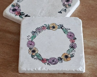 Marble Customizable Floral Wreath Coaster// Tumbled Marble Coaster//Hand painted Coasters// Save the Dates// Wedding Favors// Bridal Shower