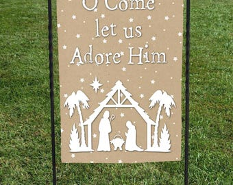 """Christmas Garden Flag, O Come letus Adore Him, Manger Silhouette, Tan and White Star background, Christmas Yard Art, 12""""x18"""""""
