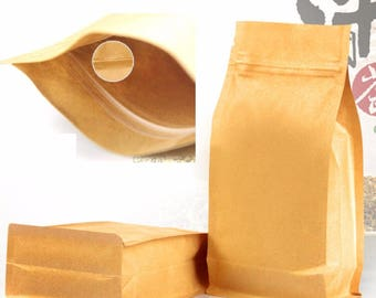 100pcs Wholesale Large kraft paper Zip Lock Packing Bag Stand Up Pouch Resealable Doypack Zipper food Coffee Storage seal bag