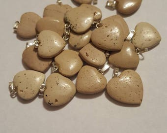 20 Brown Jasper Heart Charms