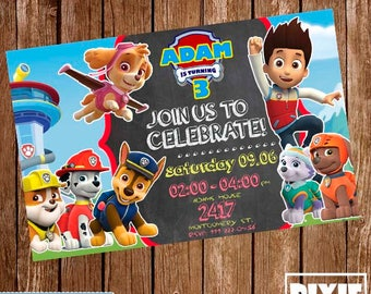 Paw Patrol Invitation, Paw Patrol Birthday Invitation, Paw Patrol Printable Invitation, Paw Patrol Printable Party, Paw Patrol Birthday Card
