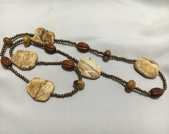 Ocean Jasper Stones with Wooden Beads Necklace