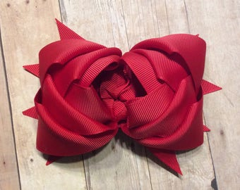 Red Hair Bow, Red Bow for Little Girls, Valentines Day Bow, Red Bow