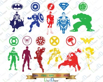 Superheroes SVG Marvel SVG Superhero logo SVG Justice league Superhero clipart decor ornament party svg eps dxf png files for cameo cricut
