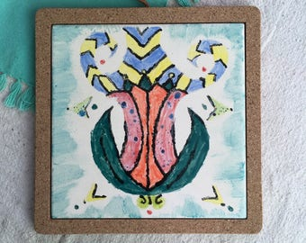 Flower ceramic hot plate