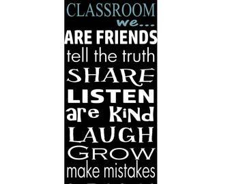 Classroom stencil, Classroom rules stencil, in our classroom stencil, sign stencil, teacher stencil, subway typography stencil, word stencil