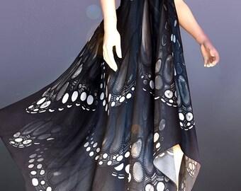 Prom Dress, Black dress, formal dress, evening dress, butterfly dress, silk dress, Black prom dress, ball gown, black maxi dress