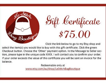 Gift Certificate - 75.00