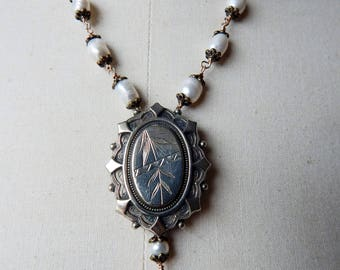 Antique Victorian Assemblage Pendant - Aesthetic Movement Unmarked Silver Front  - c1870s with Freshwater Pearls Necklace