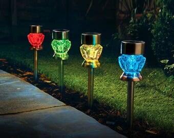 set of 4 crystal glass effect solar lights