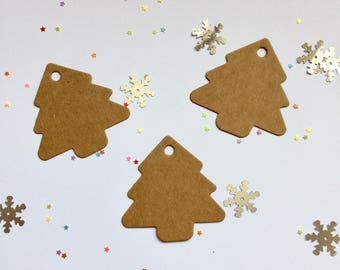 Christmas Tree shaped gift tags - shaped - manilla card gift tags - brown tags -unembellished tags - unstrung tags - gift cards - price tags
