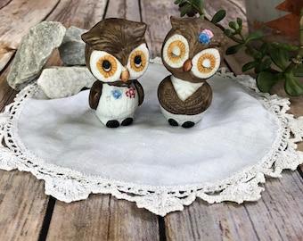 Salt & Pepper Shakers, Owls, Love Birds, Vintage Salt and Pepper, Retro Owls, Cute Boy and Girl Owls