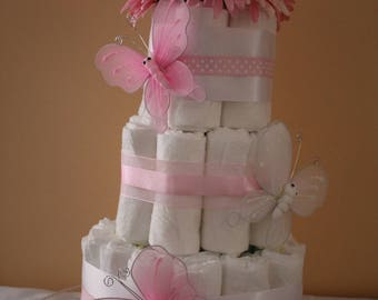 Pink Flower and Butterflies diaper cake