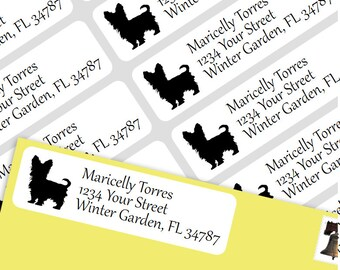 800 Personalized Return Self-adhesive Address Labels- Yorkie Puppy