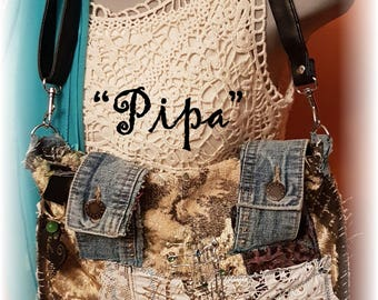 Hippy BoHo Bohemian Handsewn Upcycled Crossbody Handbag Antique Barkcloth Velvet Beads Signed Gift Boxed Named ..this is Pipa #005 OOAK